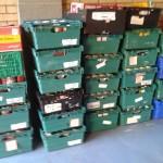 Foodbank donations ready to go into storage